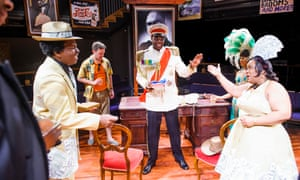 From left: Victor Romero Evans, Seun Shote and Llewella Gideon in Play Mas by Mustapha Matura at the Orange Tree theatre, Richmond, in 2015.