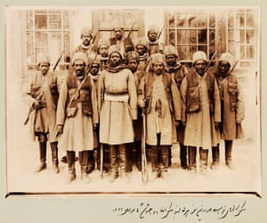 Slaves who were not eunuchs were sometimes assigned to the armies of the Qajar elites. The 14 pictured here belonged to Qajar prince Zell-e-Soltan, Ghameshlou, Isfahan, 1904.