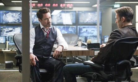 Calm before the storm ... Robert Downey Jr and Chris Evans in Captain America: Civil War.