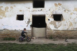 Bodvaszilas, HungaryMilan Bastyur, a four-year-old Hungarian Roma child, rides a bike outside his family's home. Many students from Hungary's Roma minority do not have access to computers or the internet and are struggling to keep up with online education during the pandemic. Surveys show that less than half of Roma families in Hungary have cable and mobile internet and 13% have no internet at all