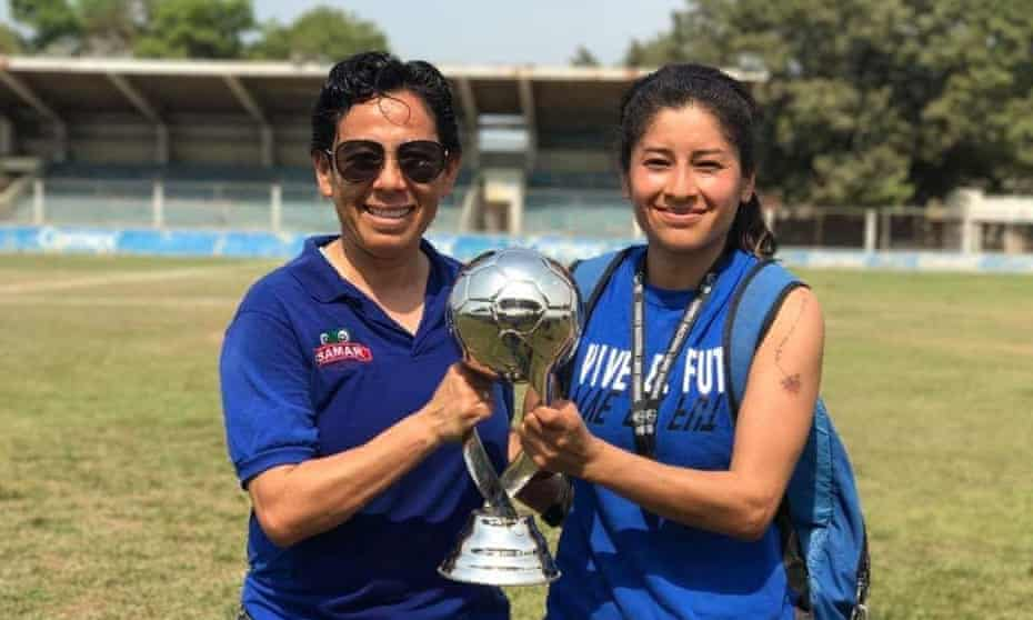 Marbella Ibarra, left, with Inglis Hernández, was the founder of Mexico's first professional women's football team, Xolas de Tijuana.