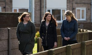 Ashleigh Stevens of Shelter Cymru, Christy Gorman and Katie Chubb work together to prevent people becoming homeless as part of Flintshire council's Housing Solutions team