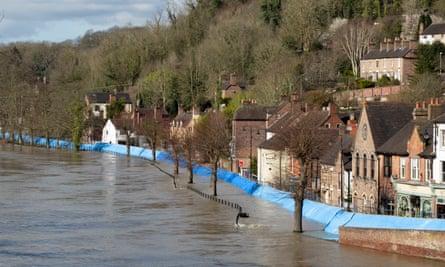 Temporary flood barriers at Ironbridge