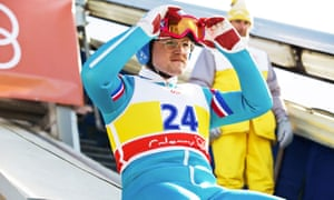 Taron Egerton as Eddie the Eagle in the 2016 film.