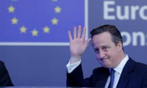 David Cameron leaves EU headquarters in Brussels, February 2016.