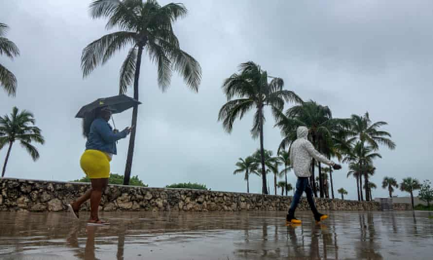 Tropical Storm Isaias approaches Miami Beach in Florida in early August. Meteorologists this month increased their predictions of an 'extremely active' season from a 60% chance to 85%.