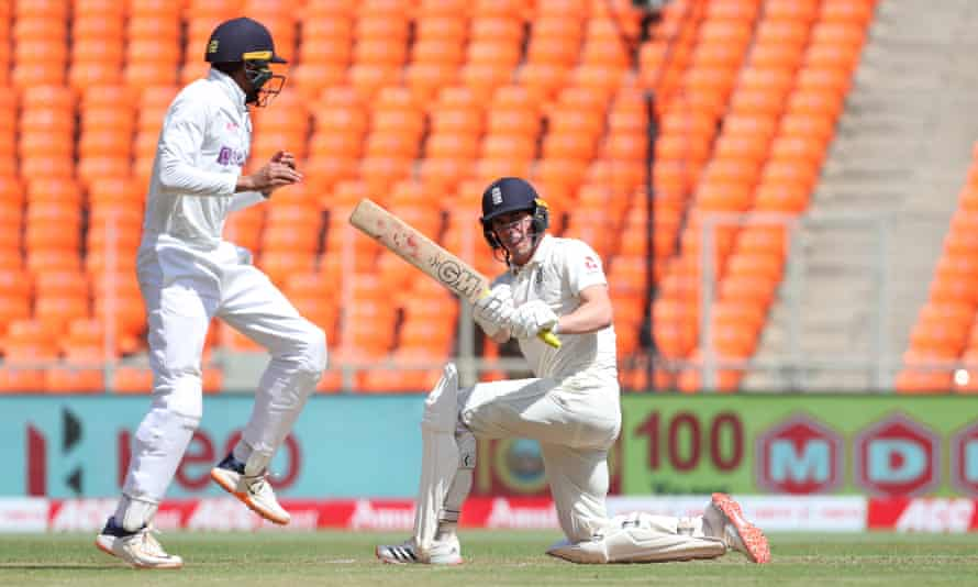 Dan Lawrence hits the ball past India's Shubman Gill, en route to making 46 after coming in No 7.