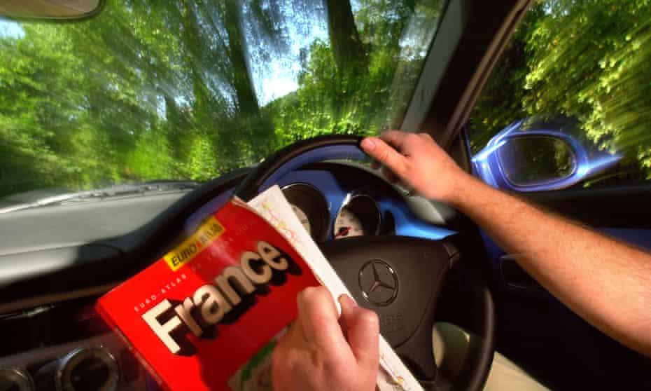 A man driving through France