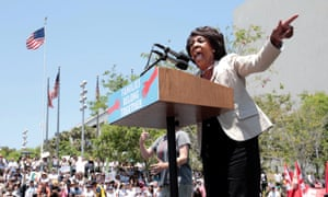 Maxine Waters at a protest against the Trump administration's immigration policy last month.