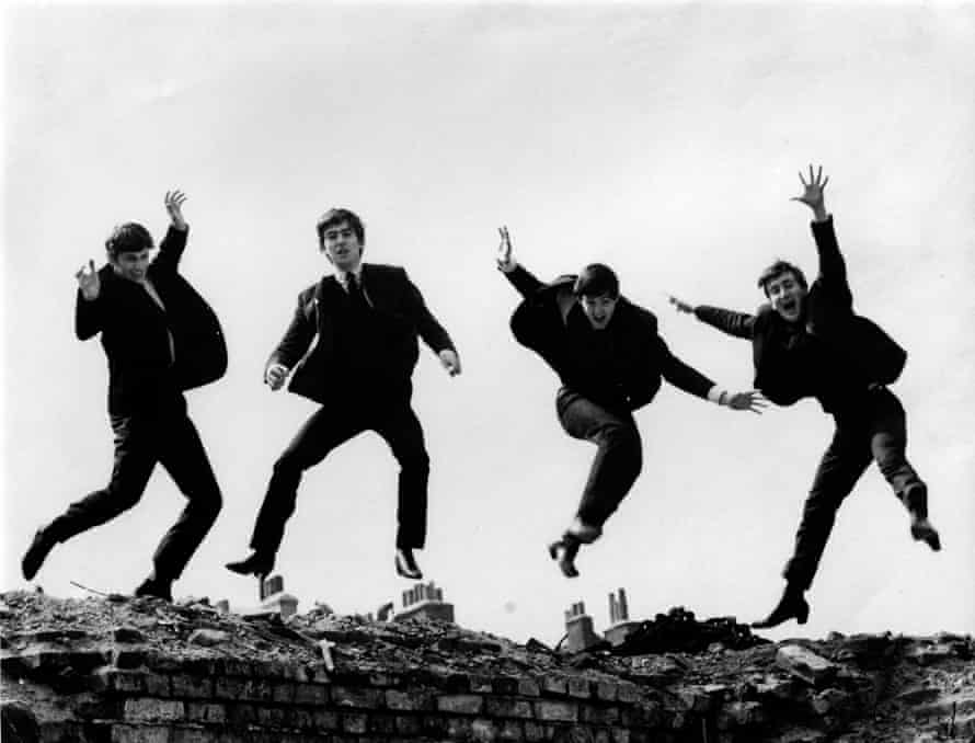 Fiona Adams's 1963 'jumping picture' of the Beatles, from left, Ringo Starr, George Harrison, Paul McCartney and John Lennon, which Lennon chose for the cover of the group's Twist and Shout EP.