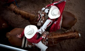 Jul 11, 2011 - Calgary, Alberta, Canada - Rodeo cowgirls and horses at the Calgary Stampede.