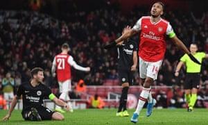 Pierre-Emerick Aubameyang of Arsenal celebrates after scoring the opening goal.