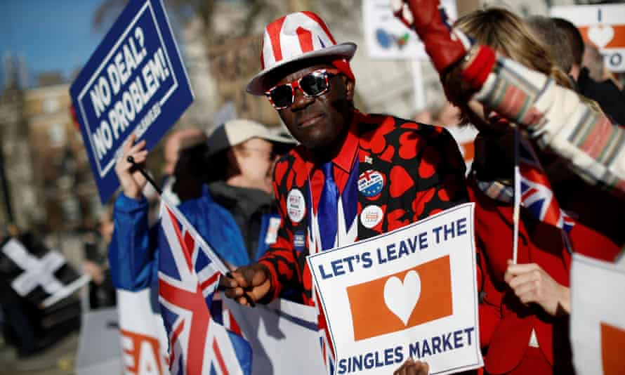 Pro-Brexit activists outside Downing Street.
