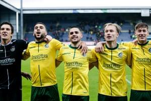 Fortuna Sittard's Alexei Koselev, Nassim El Ablak, George Cox, Mark Diemers, Clint Essers , celebrate victory over Feyenoord.
