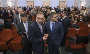 Members of Jehovah's Witnesses wait in a Moscow courtroom, 20 April 2017.