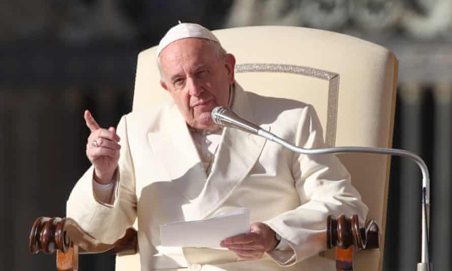 Pope Francis at his weekly general audience in the Vatican City on Thursday.