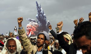Houthi supporters in Sana'a at a rally commemorating the start of the Saudi-led military campaign, on 26 March 2016.