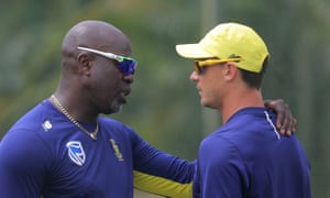 Dale Steyn, right – seen here in conversation with his coach Otis Gibson – has made himself unavailable for the opening match of the World Cup against England due to a shoulder injury.