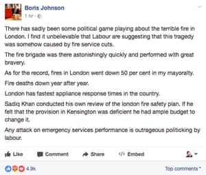 Boris Johnson's Facebook post about the Grenfell Tower fire