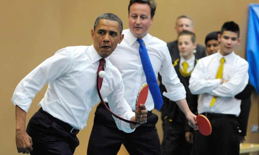 President Barack Obama and David Cameron at Ark Globe Academy in south London, 2011.