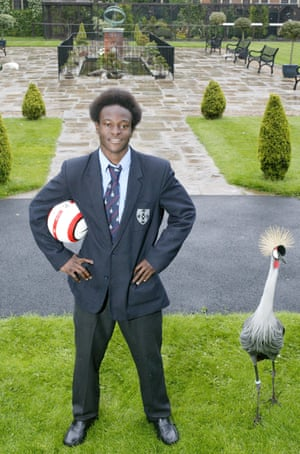 14 year old football sensation Victor Moses, and a Grey Crowned Crane, pictured at Whitgift school in 2005.