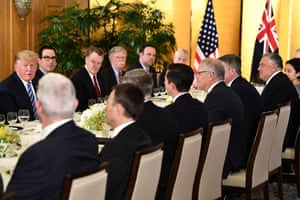 JAPAN-G20-SUMMITUS President Donald Trump (L) attends a dinner with Australia's Prime Minister Scott Morrison (4th R) in Osaka on June 27, 2019, ahead of the G20 Osaka Summit. (Photo by Brendan Smialowski / AFP)BRENDAN SMIALOWSKI/AFP/Getty Images