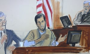 A courtroom sketch shows Reza Zarrab testifying in New York