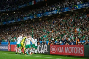 Celebrations all round the green parts of Stade Pierre-Mauroy in Lille