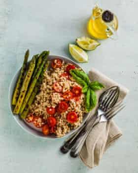 Sorghum, asparagus and tomato salad with tahini and lime