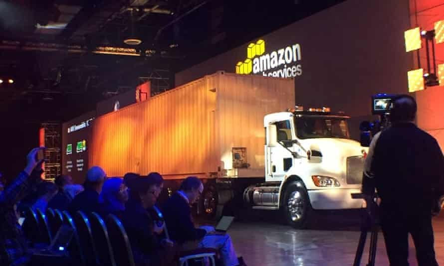 The AWS snowmobile in action.