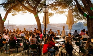 Cafe at Miradouro da GracaCafe overlooking Lisbon, Portugal