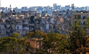 Destruction in Aleppo's rebel-held Bustan al-Basha neighbourhood
