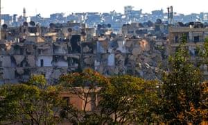 The Bustan al-Basha neighbourhood in Aleppo, Syria.