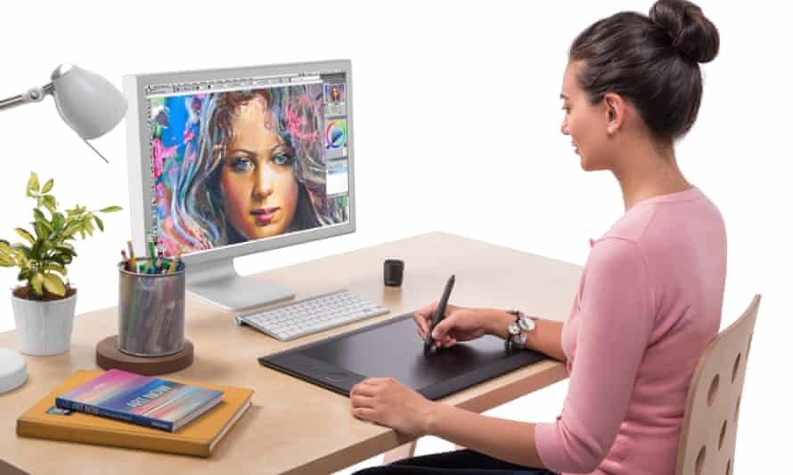 The Wacom Intuos graphics tablet in use. In terms of resolution, size and price, the devices are the best value.
