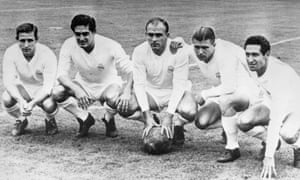 Real Madrid's forward line of legends pictured in July 1958 - left to right, Raymond Kopa, Hector Rial, Alfredo di Stefano, Ferenc Puskas and Francisco Gento