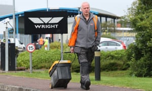 A worker leaving the Wrightbus factory in Ballymena last week.