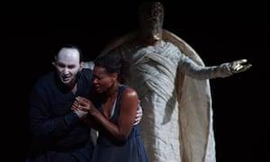 'Unnerving and mesmerising' Dimitris Tiliakos as Amonasro, Adina Aaron as Aida and Enrico Iori (Il Re) in Verdi's Aida, online at La Monnaie.