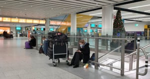 Passengers at Gatwick Airport in West Sussex, UK on 20 December, 2020.