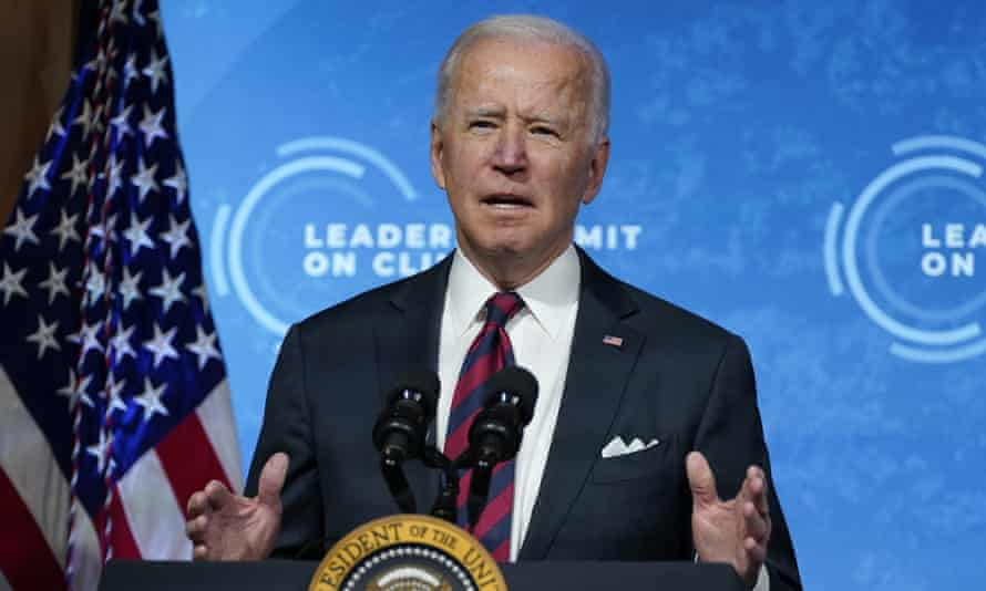 President Joe Biden speaks to the virtual Leaders Summit on Climate from the White House in Washington.