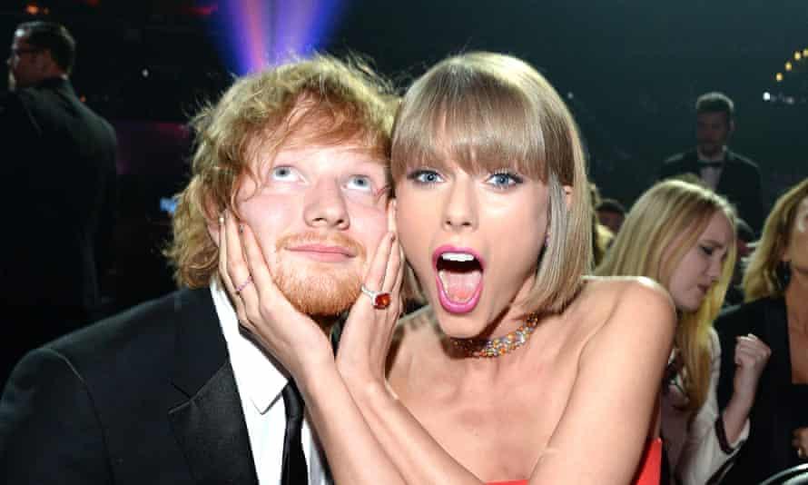 Taylor Swift and Ed Sheeran at the 2016 Grammys.