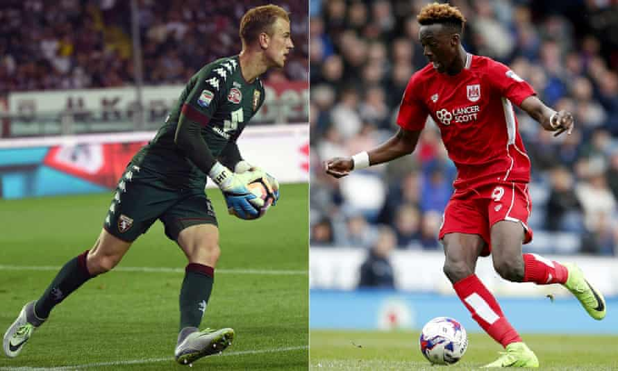 Joe Hart, left, could leave Manchester City for another Premier League club after a season at Torino, and Tammy Abraham, right, is wanted by Newcastle and others after a successful loan at Bristol City from Chelsea.