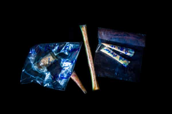 Heroin confiscated from a drug dealer's house in Mone Paw village, Muse township, northern Myanmar