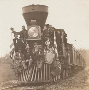 Locomotive and passengers on the Baltimore and Ohio Railroad, near Oakland, Maryland, about 1860
