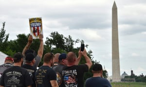 Veterans and supporters listen to Trump speak