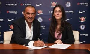 Maurizio Sarri signs his Chelsea contract alongside club director Marina Granovskaia.