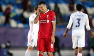 Real Madrid v Liverpool - UEFA Champions League - Quarter Final - First Leg - Alfredo Di Stefano Stadium<br>Liverpool's Roberto Firmino appears dejected after the final whistle during the UEFA Champions League match at the Alfredo Di Stefano Stadium, Madrid. Picture date: Tuesday April 6, 2021. PA Photo. See PA story SOCCER Liverpool. Photo credit should read: Isabel Infantes/PA Wire. RESTRICTIONS: Editorial use only, no commercial use without prior consent from rights holder.