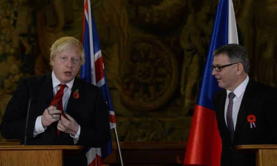 Foreign secretary Boris Johnson with his Czech counterpart Lubomir Zaorálek