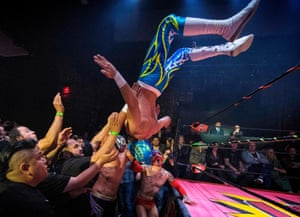 Nacho Libre wrestlers perform during the Lucha Vavoom Valentine's Day show at the Mayan Theatre.