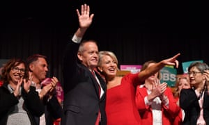 Bill Shorten (left) and his wife Chloe Shorten during a Labor party campaign rally in Melbourne on Sunday. The Labor leader has promised 887,000 families earning less than $174,000 will get fee reductions of up to $2,100 per child off their yearly childcare bill.