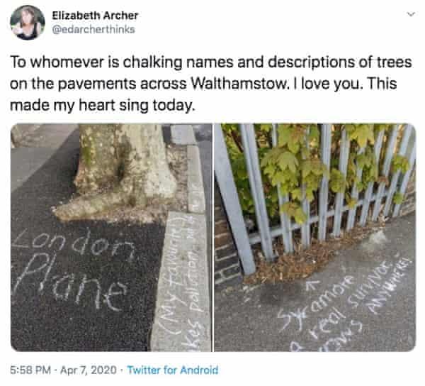 Appreciation of chalking on Twitter